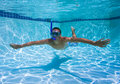 Swimmer in Pool Underwater Royalty Free Stock Images