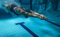Swimmer at the swimming pool underwater photo Stock Photo