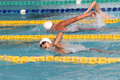 Swimmers competing in the meter freestyle in the swimming national championships in the city of solo central java indonesia Stock Photo