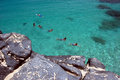 Swimmers and sea turtle in the crystal clear waters of Waimea Bay, Oahu, Hawaii Royalty Free Stock Photo
