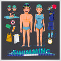 Swimming character with kits . male and female. sport concept -
