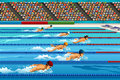 Swimming competition a vector illustration of swimmers during for sport series Royalty Free Stock Images