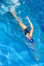 Swimming freestyle woman young in Stock Photo