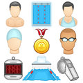 Swimming icon sport illustration of a boxing set Royalty Free Stock Photos