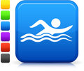 Swimming icon on square internet button Stock Photo