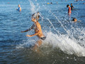 Swimming in lake Kinneret Stock Image