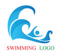 Swimming logo illustration of design isolated on white background Stock Photography