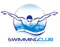 Swimming logo illustration drawing representing a swimmer with water waves splash around it Stock Image