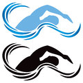 Swimming logo an isolated icon with a wave and swimmer Royalty Free Stock Photography