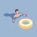 Swimming man with the rubber ring in isometric projection. Vector illustration.