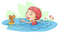 Swimming with a mouse illustration of girl Stock Photos