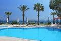 Swimming pool area in Antalya, Turkey Royalty Free Stock Photo