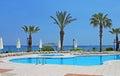 Swimming pool area near Mediterranean Sea Royalty Free Stock Photo