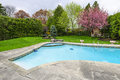 Swimming pool in backyard with outdoor inground residential private and stone patio Stock Photography