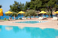 Swimming pool beach modern luxury hotel thassos island greece Stock Images