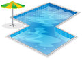 A swimming pool with a beach umbrella illustration of on white background Stock Photography