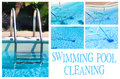 Swimming pool cleaning collage with different pictures showing the Stock Image