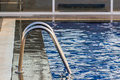 Swimming pool closeup steel bar with ripple water reflection as a summer background Stock Photography