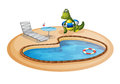 A swimming pool with a crocodile inside a buoy illustration of on white background Stock Photo