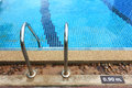 Swimming pool depth marker edge with ladder and Stock Image