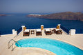 Swimming pool at Fira, Santorini, Greece Stock Photo