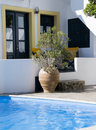 Swimming pool greek cyclades architecture Stock Photo