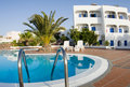 Swimming pool greek islands santorini Royalty Free Stock Photography