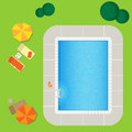 Swimming pool on a green meadow with umbrella and chaise lounge Stock Photography