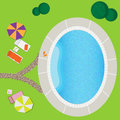 Swimming pool on a green meadow with umbrella and chaise lounge Royalty Free Stock Image