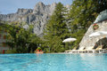 Swimming pool of a hotel at leukerbad on the swiss alps Royalty Free Stock Photos