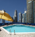 The swimming pool on the hotel roof dubai marina united arab emirates Royalty Free Stock Images