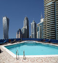 The swimming pool on the hotel roof dubai marina united arab emirates Stock Image