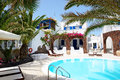 Swimming pool of hotel in traditional Greek style Royalty Free Stock Photo