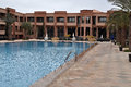 Swimming pool in the luxury hotel in marrakech in morocco country Royalty Free Stock Images