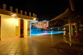 The swimming pool at luxury hotel in night illumination Royalty Free Stock Images