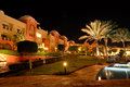 Swimming pool luxury hotel night illumination hurghada egypt Royalty Free Stock Images