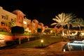 Swimming pool luxury hotel night illumination hurghada egypt Royalty Free Stock Images