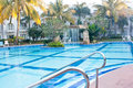 Swimming pool in morning resort Stock Photos
