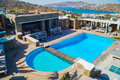 Swimming pool on mykonos island greece Stock Photography