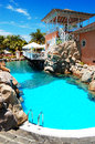 Swimming pool near open air restaurant at luxury hotel tenerife island spain Stock Photos