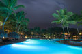 Swimming pool in night illumination Royalty Free Stock Photo