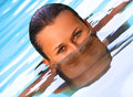 Swimming pool portrait eyes of beautiful woman in the Royalty Free Stock Photo