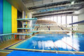 Swimming pool at preparation competitions Royalty Free Stock Images