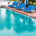 Swimming pool at rainy day Stock Images