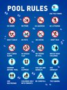 Swimming pool rules. Set of icons and symbol for pool. Royalty Free Stock Photo
