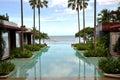 Swimming Pool Sea Palm Tree Resort Royalty Free Stock Photo