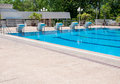 Swimming pool and starting places at sport center blue Stock Image