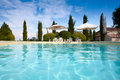 Swimming Pool and Sunshades Royalty Free Stock Photo