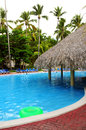 Swimming pool with swim up bar at tropical resort Stock Image