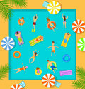Swimming pool top view beach summer time scene with people Royalty Free Stock Photo